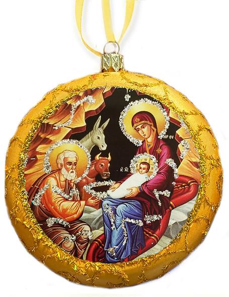 Ornament, Nativity icon on gold, Ukrainian