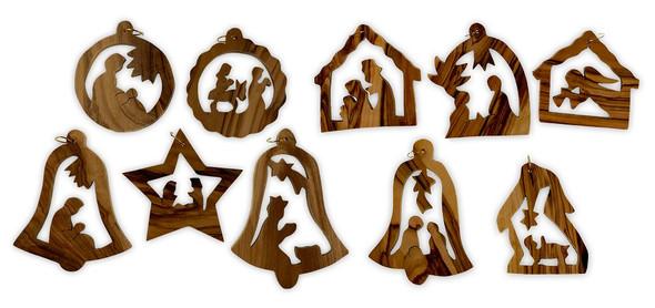 Christmas Ornaments, olive wood, set of 10. Made in Bethlehem.