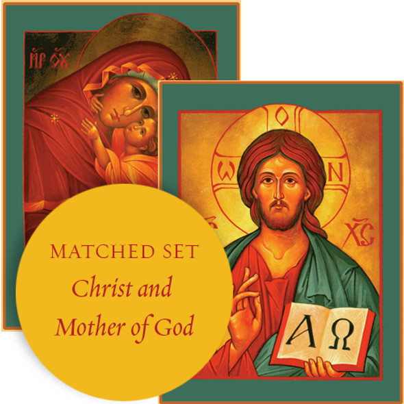 Matching set: Christ the Savior & Mother of God, large icons