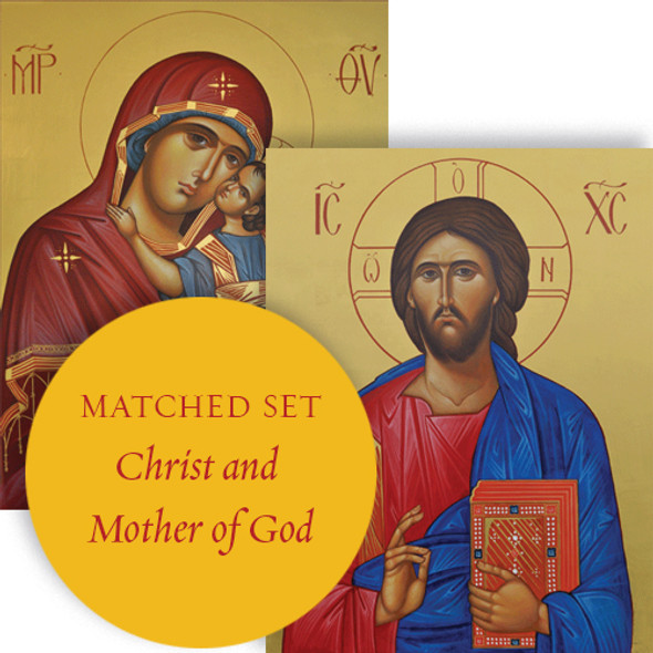 Matching set: Christ the Teacher & Sweet Kissing, large icons