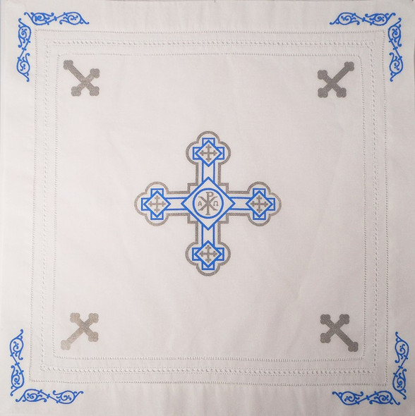 Orthodox Cross Linen, Pascha basket cover / Slava Kolach. Blue and silver design.