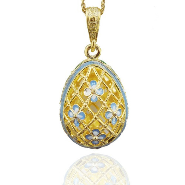 Egg Pendant, Floral Filigree, powder blue accents