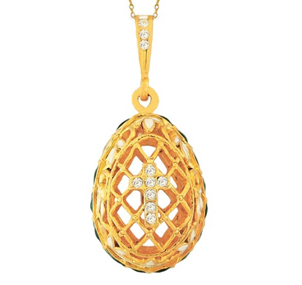 Egg Pendant, Fabergé style with crystal cross and lattice design, gold