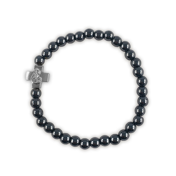 Prayer Bracelet with small silver-tone cross and black hematite beads