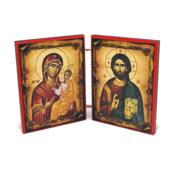 Diptych: Christ and Mother of God with Lord's Prayer, front