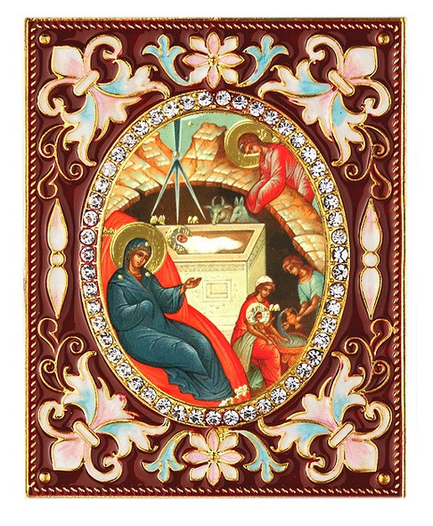 Ornament, Nativity of Christ with stand and chain, red
