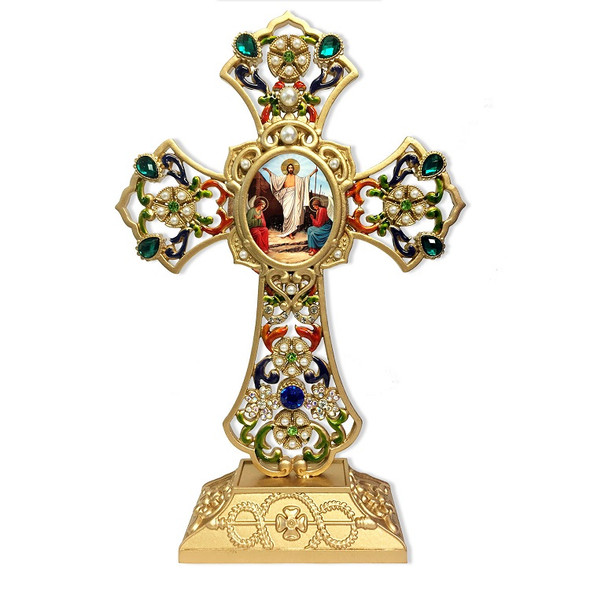 Standing Cross, jeweled, Resurrection icon. Approx. 8.5 X 5.5 inches.