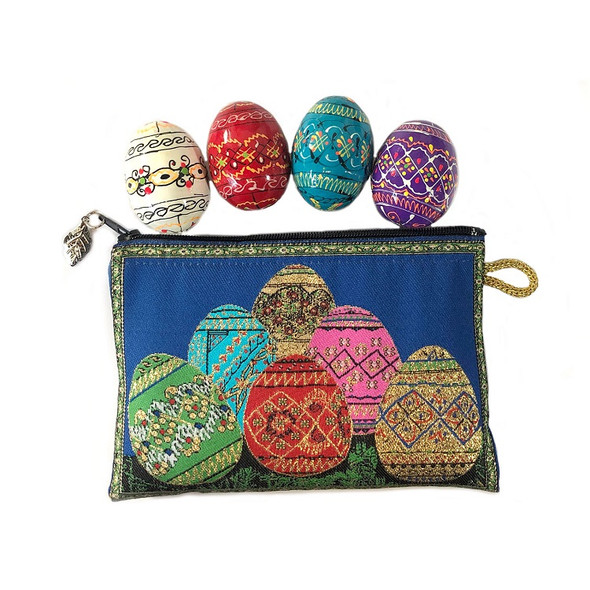 Tapestry pouch with four wooden Pysanky eggs