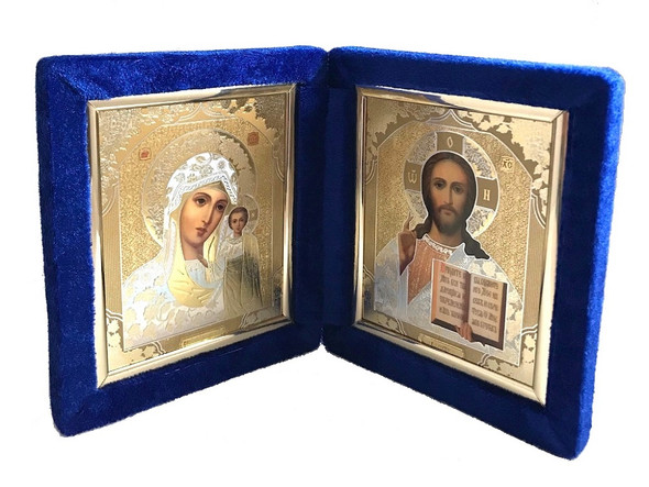 Diptych: Virgin of Kazan and Christ the Teacher in blue velvet case