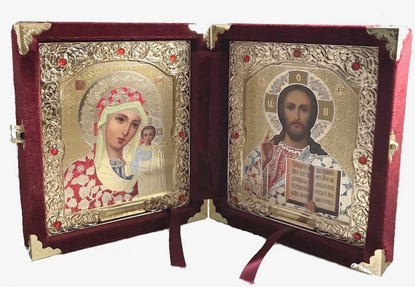 Diptych: Virgin of Kazan and Christ the Teacher in burgundy velvet case