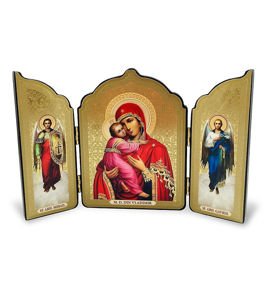 Triptych: Virgin of Vladimir with Archangels Michael and Gabriel, medium icons. Made in Ukraine.