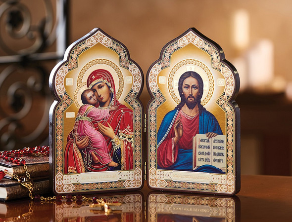 Diptych: Virgin of Vladimir and Christ the Teacher, dome-shaped, medium icons