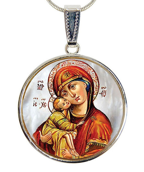 Virgin of Vladimir Pendant, Mother of Pearl, chain included