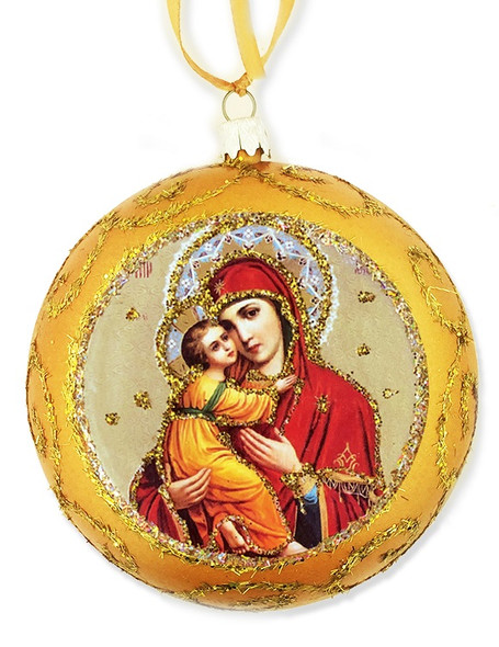Ornament, Vladimir Mother of God, gold