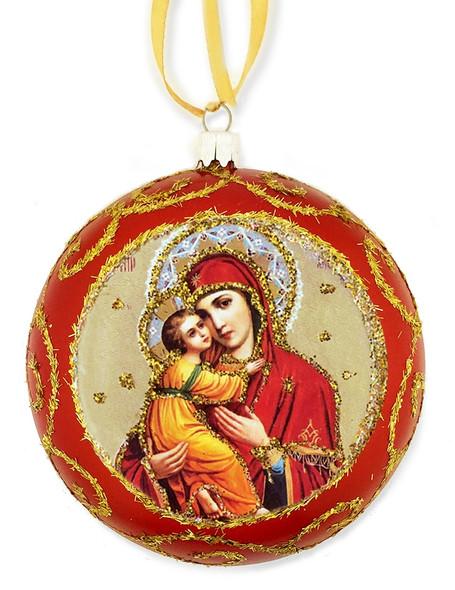 Ornament, Vladimir Mother of God, red