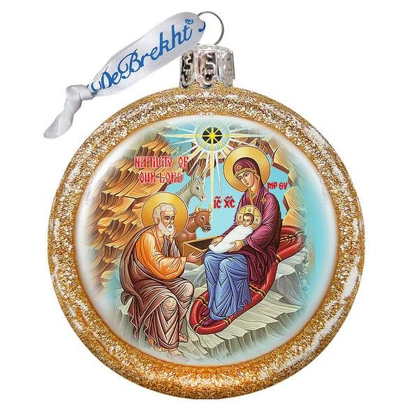 Ornament, Nativity icon, gold half-sphere