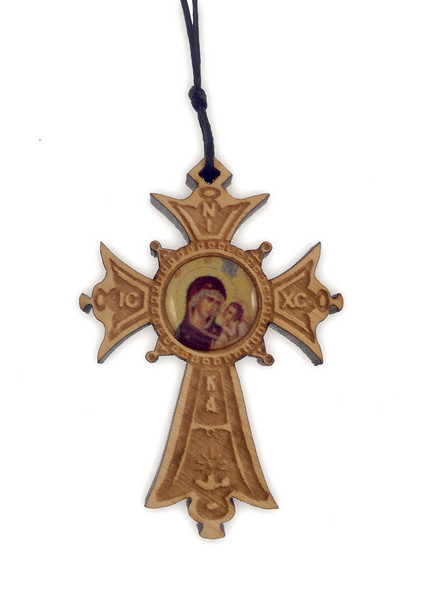 Mini Wood Cross Ornament with icon of Virgin and Child