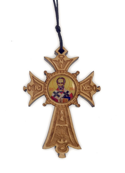 Mini Wood Cross Ornament with icon of Saint Nicholas