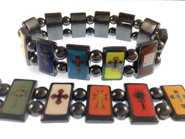 Orthodox cross bracelet, 12 hematite panels