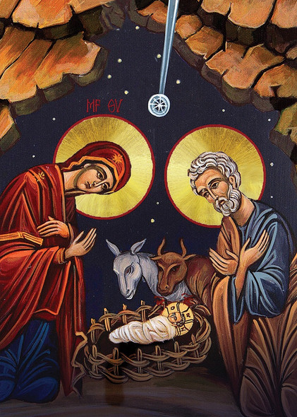 Christ in the Manger, pack of 15 Christmas cards