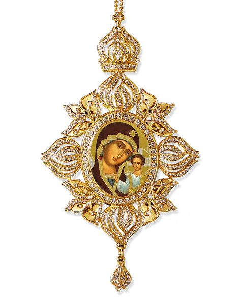 Ornament, bejeweled with MOG of Kazan icon