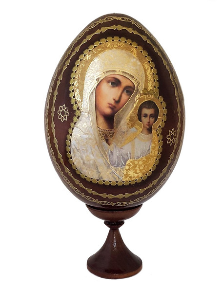 Wood egg on stand with icon of Virgin of Kazan