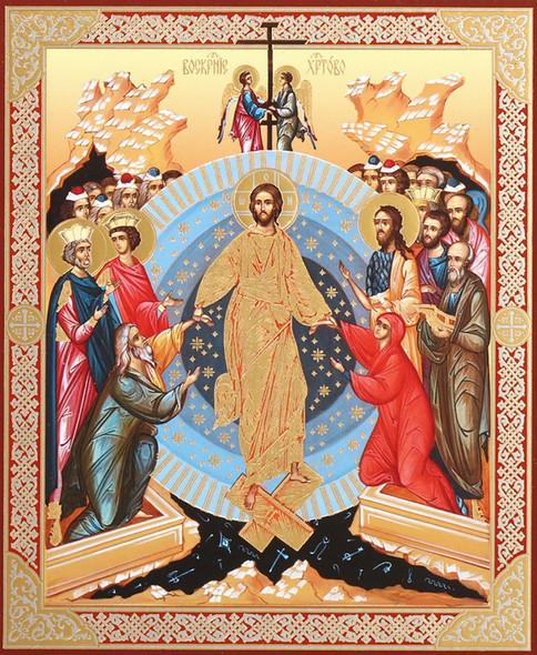 Resurrection, Descent into Hades (gold foil), small icon