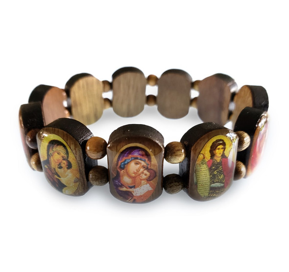 Icon Bracelet with double row wood beads