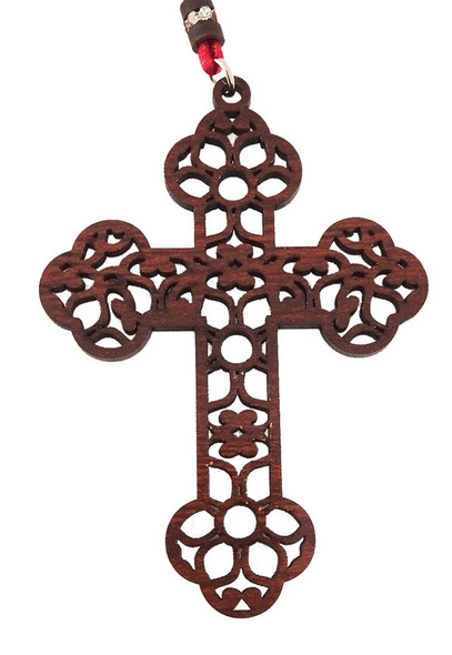 Cross Ornament, ornate cut-out floral and vine design