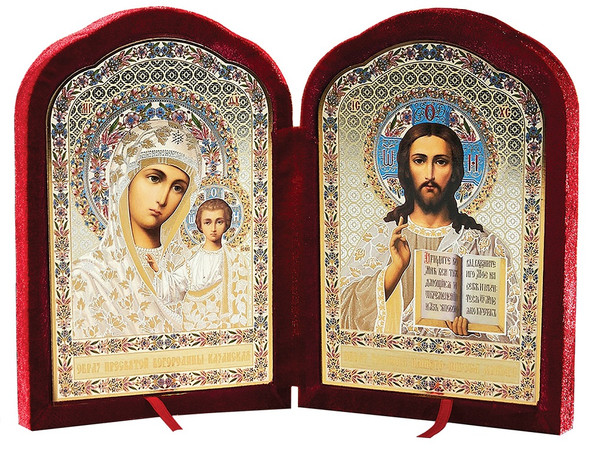 Diptych: Virgin of Kazan and Christ the Teacher, large icons in a contoured red velvet case