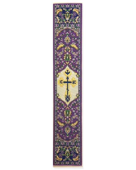 Tapestry bookmark, purple with cross