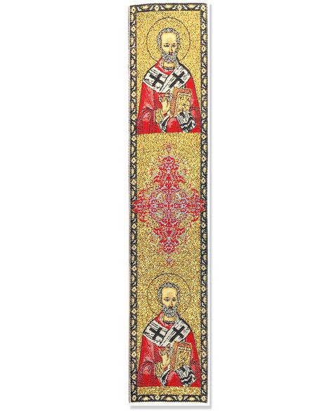 Tapestry bookmark, gold with Saint Nicholas