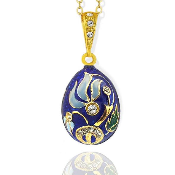 Egg Pendant, Fabergé style with blue floral design
