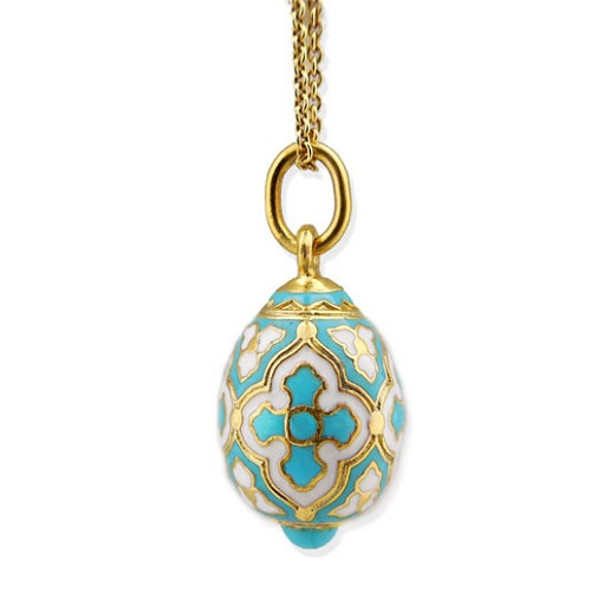 Egg Pendant, Fabergé style with turquoise cross