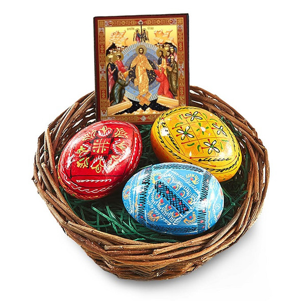 Basket with 3 Pysanky eggs and Resurrection icon