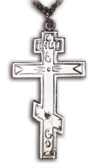 008215 Three-bar Cross, sterling silver, medium, chain included