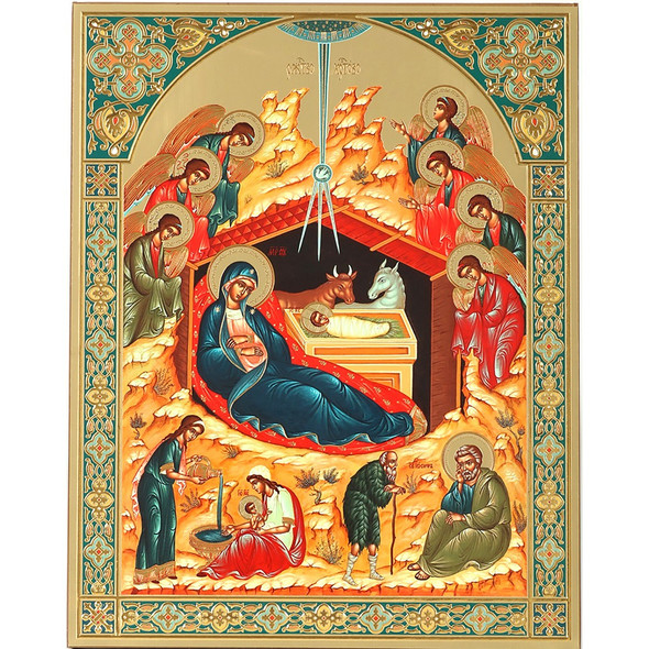 Nativity of Christ with Angels (gold embossed), extra-large icon