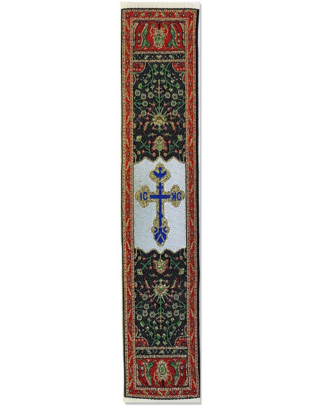 Tapestry bookmark, red with St Xenia cross