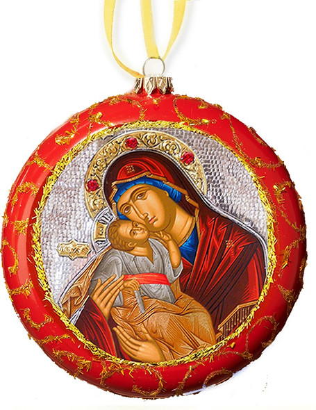 Ornament, Tender Mercy on red with gold accents, Ukrainian