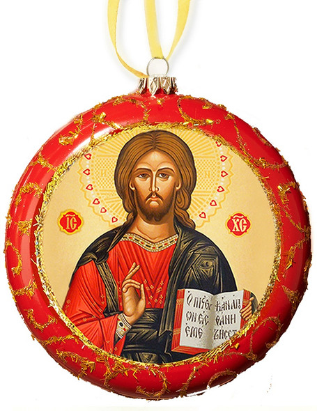 Ornament, Jesus Christ on red with gold accents, Ukrainian