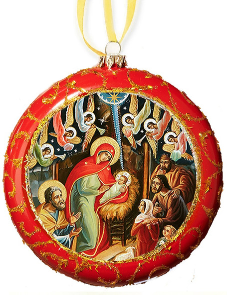 Christmas Ornament, Nativity with Angels on red with gold accents, Ukrainian