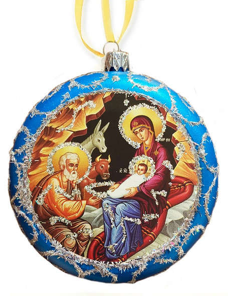 Ornament, Nativity on blue with silver accents, Ukrainian