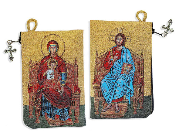 Tapestry pouch, Christ and Virgin Mary Enthroned, both sides