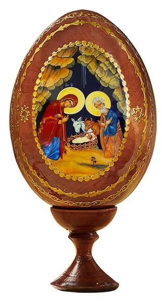 Wood egg on stand, Nativity in cave icon, medium