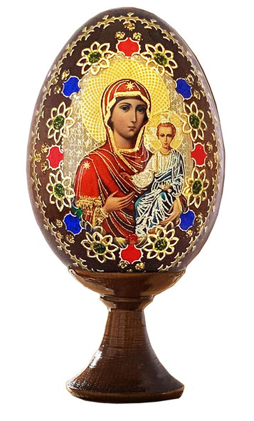 Wood egg on stand, Smolensk Mother of God icon with gold ornamentation, small