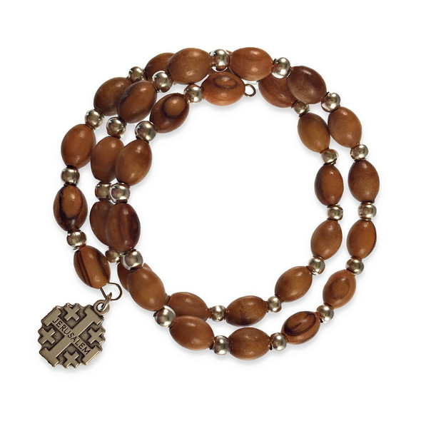 Prayer Bracelet with layered rows of olive wood beads, silvertone cross