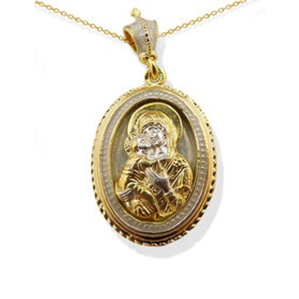 Virgin and Child Pendant, gold-plated Vermeil
