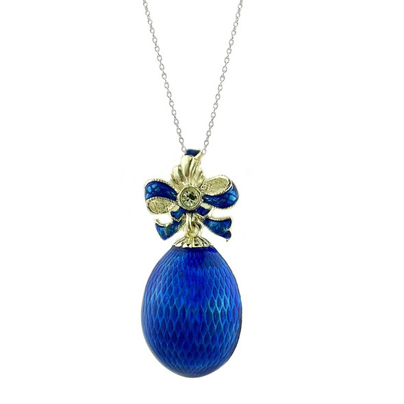 Egg Pendant, Fabergé style with bow, blue and silver