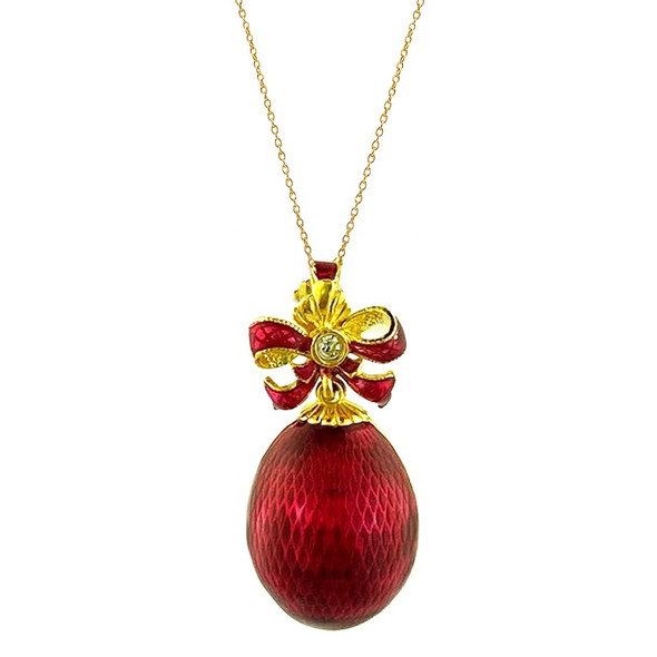 Egg Pendant, Fabergé style with bow, red and gold