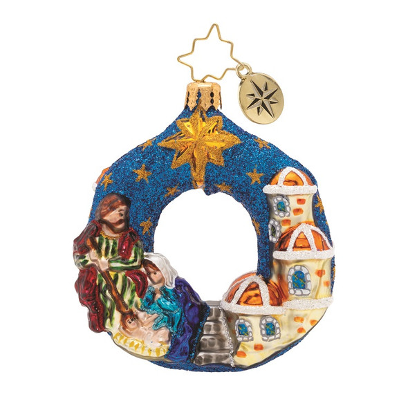 Ornament, Christopher Radko, glass North Star gem wreath with manger scene
